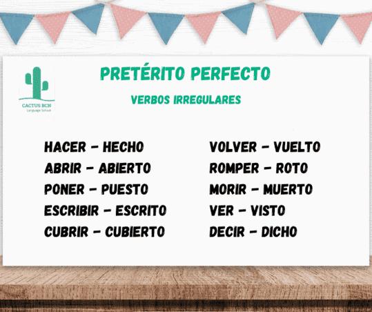 Spanish preterito perfecto irregular verbs